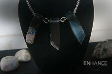 Natural Black Agate Stone Necklace with 925 Sterling Silver Chain