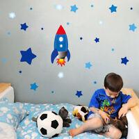 Cartoon Rocket Stars Astronaut Space Wall Decal Art Sticker Boys Kids Room Decor