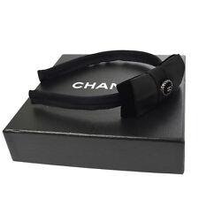 Auth CHANEL CC Logos Bow Headband Hair Accessories Black Satin Vintage  V14068