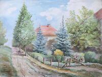 Aquarell Sommerlandschaft mit Weg am Haus Villa mit Garten Blüten Impressionist