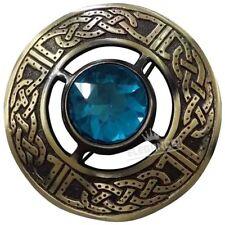Celtic Kilt Fly Plaid Brooch Sky Blue Stone Antique Finish/Highland Plaid Brooch