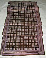 """Vintage Signed VERA Ladybug Oblong Brown Lavender Plaid Scarf 44"""""""