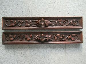 1pair of large antique drawer fronts with hand-carved vine tendrils, around 1880
