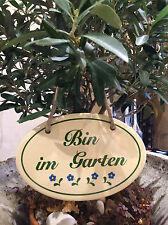 """""""Bin im Garten"""" Gartenschild aus hochwertigem Emaille, lange haltbar, mit Kordel"""