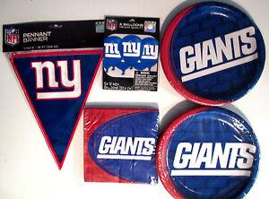 New York Giants NFL Fußball Party Stromversorgung Packung Satz M / Banner &