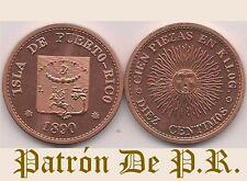 PUERTO RICO 10 CENTIMOS 1890 PATRON 1/200 Fantasía de Calidad 100% Cobre pattern