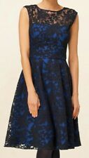 PHASE EIGHT ANABELLE BLACK LACE BLUE SATIN 50'S FIT N FLARE DRESS 10 £150 BNWT