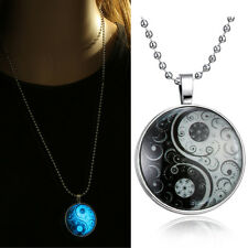 Yin Yang Glow in the Dark Glass Pendant Necklace
