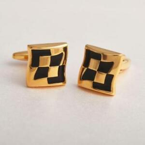 Men's Gifts Collection Office Wear High Metallic Finished Golden Tone Cuff links