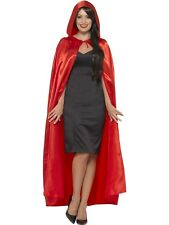 Red Hooded Cape Mens Ladies Halloween Devil Vampire Fancy Dress Cape