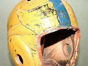 """Vtg 1940s GEO. A. REACH GOLD & BLUE PAINTED """"WING FRONT"""" LEATHER FOOTBALL HELMET"""
