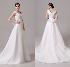 White A-Line Bow Lace Bridal Gown Wedding Dresses In Stock 4 6 8 10 12 14 16