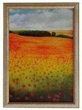 Poppies and Clouds Original Oil Painting Framed & Signed Vibrant Landscape Trees