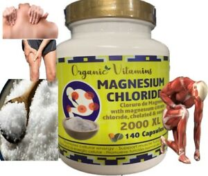 Magnesium Chloride Cloruro de magnesium High absorption 140 CAPS 2000 XL 100 %