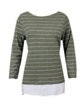 New Ex M&S Striped Jersey 3/4 Sleeve Casual Top Size 10 - 24 Khaki  & Cream