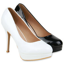 Damen Plateau Pumps Stiletto High Heels Party Übergrößen 833738 Schuhe