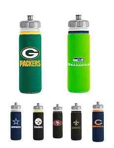 NFL Football Team Logo Van Metro Water Bottle with Neoprene Cover - Pick Team!