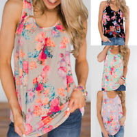Womens Floral Vest Tops Ladies Summer Sleeveless T-shirt Tunic Cami Blouses Tee
