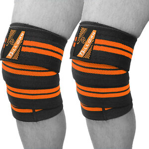 Weight Lifting Cotton Knee Wraps Bandage Elasticated Gym Workout Support PAIR