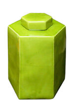 Chinese Hand Glazed Light Olive Green Porcelain Hexagon Jar vs716