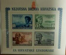 CROATIA WWII MINI SHEET STAMPS