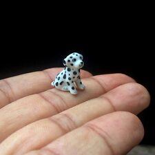 Dollhouse Miniature Dalmatian Dog Ceramic Tiny Figurine Sculpture Hand Painted