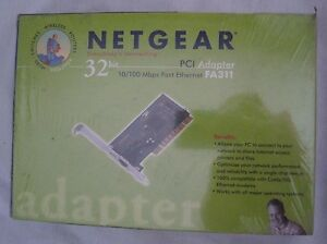 Netgear 32 Bit PCI Adapter 10/100 Mbps Fast Ethernet FA311 PC Connector NOS