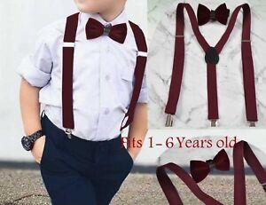 Boy Baby Kids Burgundy Wine Red Velvet Bow Tie Match Suspenders 1-6 Years Old