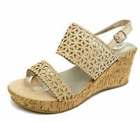 WOMENS NUDE WIDE-FIT EEE WEDGE PLATFORM OPEN-TOE STRAPPY SANDALS SHOES 4-10