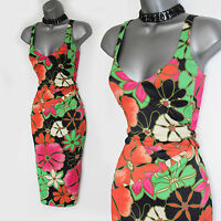 KAREN MILLEN Multicolour Floral Print V Neckline Stunning Satin Dress UK 12 EU40