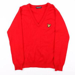 Vintage LYLE & SCOTT Red 00s V-Neck Wool Plain Jumper Womens S