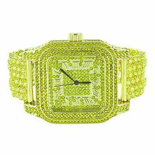Big Square Face Watch Mens Iced Out Lab Diamonds Gold Steel Back Jojo
