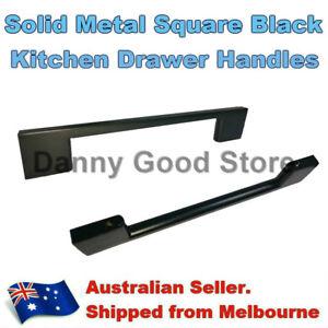Black Steel Slim Pulls Handles Bedroom Bathroom Wardrobe Modern 96/128mm