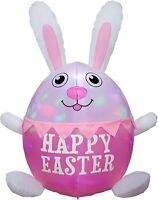 8' FT HUGE EASTER BUNNY COMING OUT OF EGG LIGHTED LED AIRBLOWN INFLATABLE YARD