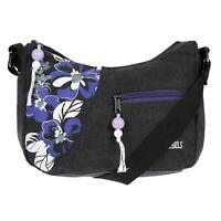 Kleine Damen Schultertasche Umhängetasche Handtasche Tasche Schwarz Canvas Stoff
