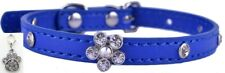 Blue Bling Pet Collar - Flower Rhinestones - Small FREE Charm included! dog cat