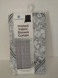 Comfort Bay Fabric Shower Curtain Floral Brown Gray White 70 X 72 in NEW