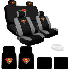 New Superman Car Seat Cover Floor Mats with POW Logo Headrest Cover For Ford
