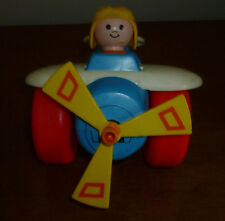 Vintage 1980 Fisher Price Airplane Pull Along Toy Plane W/ Pilot Propeller #171