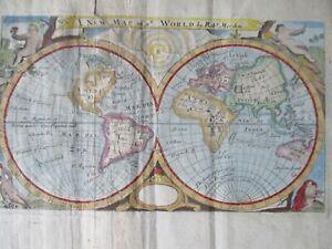 Antique ca. 1705 world map, Robert Morden, California island
