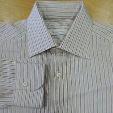 Recent ERMENEGILDO ZEGNA White w Brown & Brick Stripe Spread Collar Shirt 15