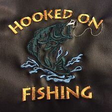 Waterproof Vinyl Fabric   Embroidered Apron, Hooked On Fishing