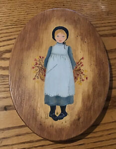 Vintage Wooden Amish Painting Country Primitive Art