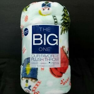 The Big One Snowman Blue Plush Oversized Throw Blanket 5ft x 6ft Polyester XMAS