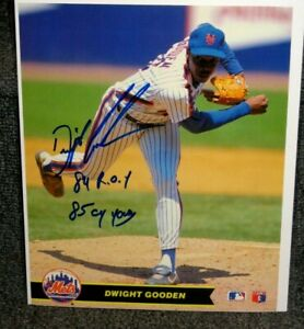 DWIGHT GOODEN NEW YORK METS SIGNED MLB PHOTO W 84 ROY & 85 CY YOUNG INSCRIPTIONS