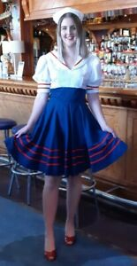 40's inspired, Sailor Girl Dress & hat, white/red/navy, cotton, size 12