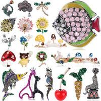 Fashion Brooch Pin Animal Flower Crystal Pearl Enamel Women Wedding Jewelry Gift