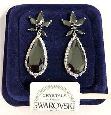 Orecchini da donna pl.oro bianco 18K zirconi cristalli swarovski nero SW55/fiore