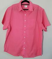 Old Navy Mens Casual Button Up Cotton Short Sleeve Summer Shirt 2XL Salmon Pink