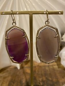 Kendra Scott Vintage Purple Agate Danielle Earrings Gold Tone Rare